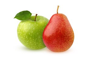 Green Apple and red pear