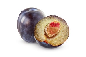 Isolated plums.