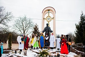 Christmas nativity scene parade of c