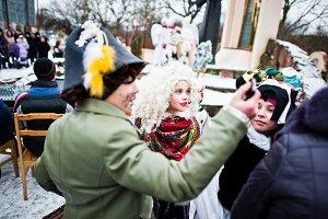 Christmas nativity scene parade of c