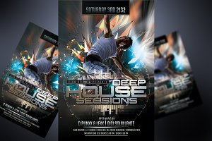 Electro House Music DJ Flyer Templat