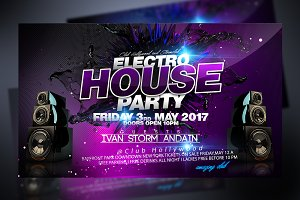 Electro House Party Flyer + Fb Timel