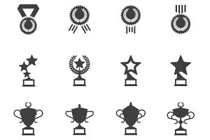 Awards, medals and cups icons