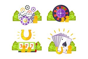 Set of Gambling Conceptual Vector