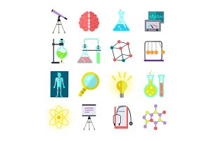 Set of Colorful Science Icons
