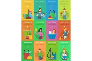 Set of House Cleaning Banners