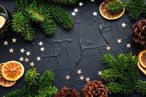 Christmas fir tree frame on black