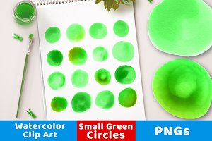 Watercolor Circles- Small Green