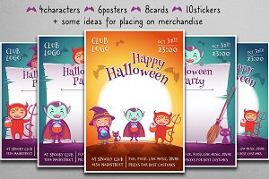 Cute Halloween characters, posters.