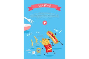 Fast Food Cartoon Characters Banner