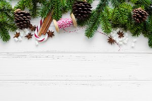 Christmas border on white background