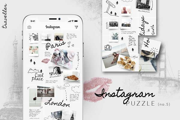Instagram PUZZLE template -Travelle…