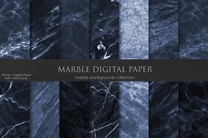 Navy Blue Marble & Dark Textures