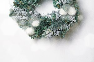 Christmas Wreath on White Background