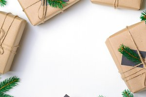 Christmas Gifts with Fir Branches on