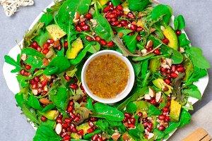Christmas Wreath Salad With Pomegran Food Drink Photos