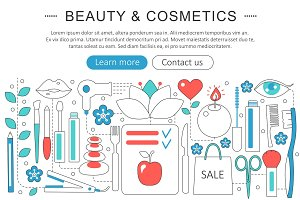 Vector beauty cosmetics concept.