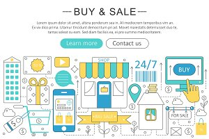 Vector Buy & sell commerce concept.