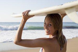 Surfer girl portrait