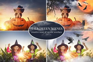 Halloween Scenes photo overlays