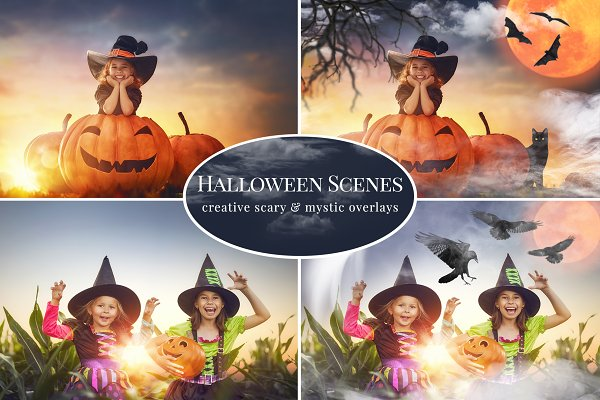 Halloween Scenes photo overlays