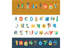 Alphabet stationery letters vector