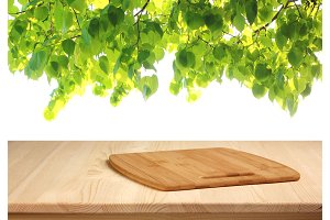 wooden table with cutting Board