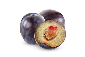 Isolated purple plums. Two whole fru