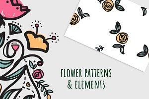 Ethnic flower patterns & elements