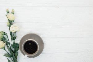 Coffee,flowers on wood mockup