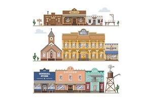 Saloon vector wild west building and