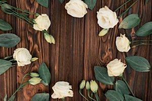 Flowers on rustic wood table