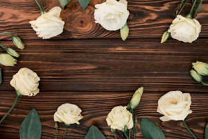 Flower wreath on old wood