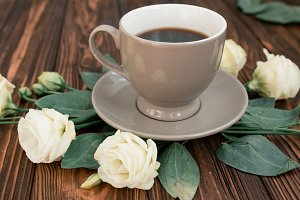 Portrait of coffee and flowers