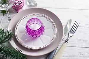 Purple Christmas table setting with
