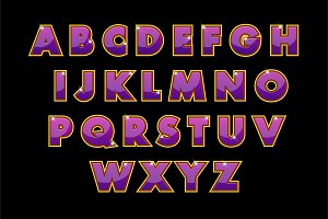 Stylish purple alphabet vector. abc
