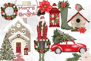 Merry and Bright clipart collection