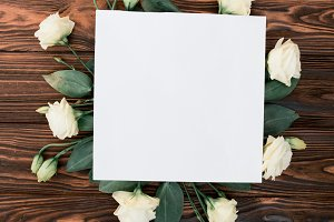 Rustic flower frame mockup