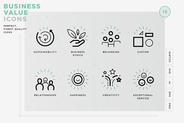 Business Value Icons Pre Designed Photoshop Graphics Creative Market