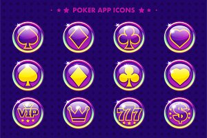 Poker purple app icons and symbols