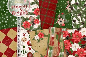 Merry and Bright Seamless Patterns