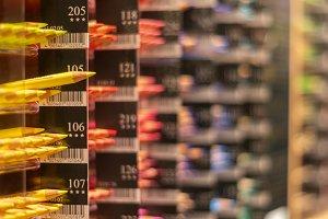 Rows of color pencil