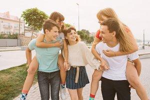 Teenage school friends