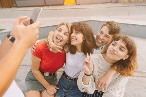 Best friends taking selfie outdoors