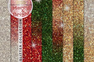 Merry and Bright Glitter Backgrounds