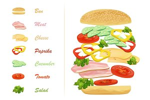 Sandwich ingredients with text info.