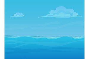 Empty ocean & sky landscape.