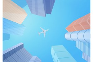 skyscrapers & airplane in the sky