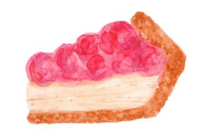 Cherry Cheese Cake Illustration