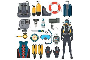 Scuba diving equipment set.
